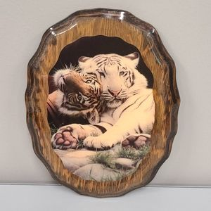 Vintage Tiger Lacquered Wood painted wall art